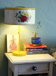 check it out - the lamp shade is an old cake carrier