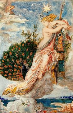 """""""The Peacock complaining to Juno"""" by Gustave Moreau (1881).  http://www.wikiart.org/en/gustave-moreau/the-peacock-complaining-to-juno-1881"""