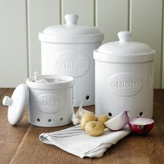 potato onion garlic canisters $70 (sale) William Sonoma-- i want for my kitchen sooo bad!!! & Ventilated storage containers for potatoes onions and garlic ($60 ...