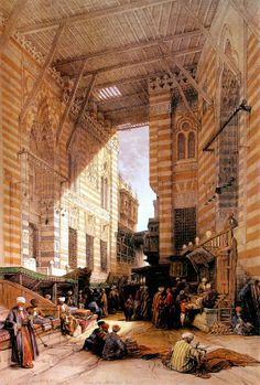 Silk Mercers Bazaar of El Ghooreeyeh , Cairo 1842 By David Roberts 1796 -1864 بازار الحرير بالغوريه - القاهره 1842