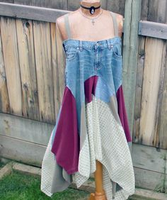 Rustic Sundress Upcycled Jeans Blue Boho от BrokenGhostClothing