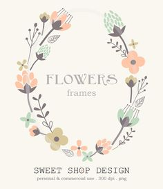 Flower Border Clip Art, Frames, Royalty Free Clip Art, N01, Instant Download by SweetShopDesign, $4.95