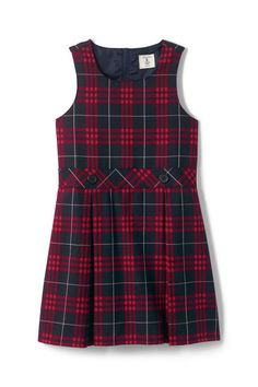 Try our School Uniform Girls Plaid Jumper at Lands' End.Shop School Uniforms for boys and girls at Lands' End. Find lasting quality kids' school uniform shirts, pants, skirts, shoes and more for back to school. School Uniform Store, School Uniform Girls, Little Girl Dresses, Girls Dresses, Kids Uniforms, School Uniforms, Pantalon Large, Uniform Shirts, Uniform Design