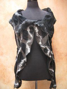 Midnight Hour Black Nuno Felt Vest on silk chiffon by Patty Barker