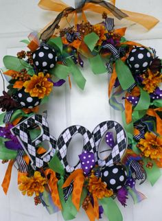 Polka Dot Halloween Wreath. This is my version of a wreath I found on Pinterest.