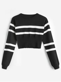 Striped Sweater Black and White Outfit Striped Round Neck Short Sweater Black Striped Sweater Black and White Outfit Striped Round Neck Short Sweater Black MyFashion Clothing Home Decor Ideas nbsp hellip Sweater aesthetic Trendy Fashion, Fashion Outfits, Fashion Fashion, Fashion Women, Fashion Online, Fashion Ideas, Robes Midi, Sweater And Shorts, Cropped Sweater