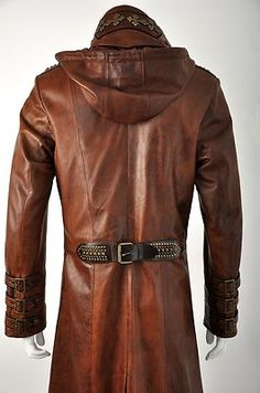 Signature Antique Tan Leather Exclusive to Impero. A superior tailcoat style with strong high collar, large lapels featuring buttonhole detail and epaulettes. Steampunk Jacket, Steampunk Cosplay, Leather Jackets, Leather Men, Mens Hooded Coat, Sweater Coats, High Collar, Hoods, Costumes