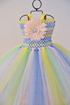 Stripe body tutu dresses crochet strips of tulle?  Beautiful.