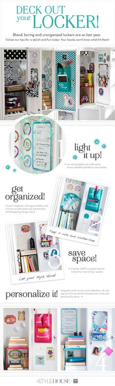 Prepare your teen with ideas to organize and personalize their locker with these suggestions from the PBteen Blog! More organization=less lost items...hopefully!