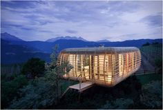 """Fincube is a project by Berlin based Architecture company """"Studio Aisslinger"""". The concept is a modular, sustainable & transportable low-energy house. The example created is a 47sq m residence, 1200m above sea level near Bozen in Northern Italy."""