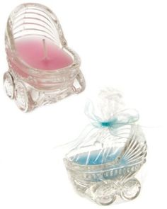 Glass Carriage Candle Favor, baby shower gift
