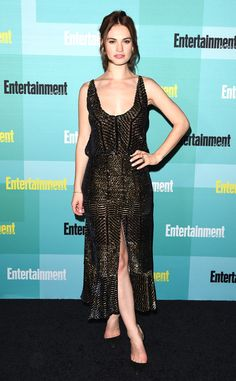 Lily James from The Best of the Red Carpet  No more Cinderella looks! The actress goes for a dark glam look in thisAltuzarra design.