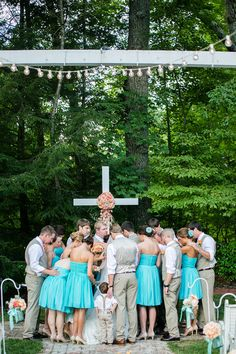 The wedding party gathers together for the last prayer before announcing the newlyweds! {Ardent Story Photography}