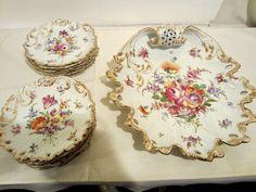 Dresden set with twelve dessert plates and rare platter