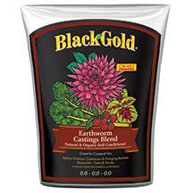 Black Gold Earthworm Castings-  One of the purest forms of sustained release plant fooed. Castings won't burn even the most delicate plants, are naturally odor-free and improve soil structure, aeration and drainage. They are rich in beneficial bacteria and microbes to help plants absorb nutrients. Mix in soil when potting or topdress on garden beds. Can also be added to water to make compost tea fertilizer.