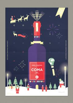 COMA Wine party poster - Merry christmas happy new year on Behance