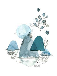 Simple watercolor line illustration