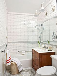 Create big style in a small bathroom by using our tips and tricks for decorating tiny spaces. Try using a soothing neutral palette, a dose of decorative tile, or different prints and textures that are within the same color family. Keep floors clear by putting in a wall-mount sink, and find out our clever storage ideas (that are also super cute!).