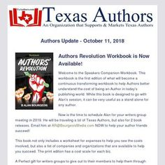 Authors Update - October 2018 Authors Revolution Workbook is Now Available! Welcome to the Speakers Companion Workbook. This workbook is the fir. Authors, Revolution, Texas, Writing, Learning, Simple, Books, Livros, Book