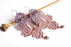Plums Flavour -statement lace earrings. $14.00, via Etsy.