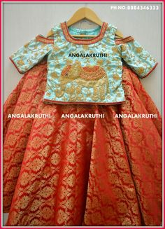 desings for kids by Angalakruthi boutique Bangalore Frocks For Girls, Dresses Kids Girl, Kids Outfits, Baby Girl Lehenga, Kids Lehenga, Kids Dress Wear, Baby Dress, Kids Ethnic Wear, Kids Party Wear