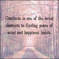 Gratitude ~ Always ! Gratitude is one of the sweet shortcuts to finding peace of mind and happiness inside . Yoga Quotes, Motivational Quotes, Life Quotes, Inspirational Quotes, Quotes Quotes, Peace Quotes, Crush Quotes, Relationship Quotes, Insightful Quotes