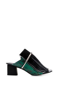 Black Fringed Leather Snakeskin Mules by Proenza Schouler - Moda Operandi