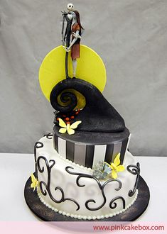 Tim Burton themed Corpse Bride Grooms Cake - pinning because i like how they did the stripes in white and gray on the black. I also like the scroll work with a scroll shadow.