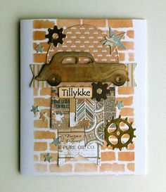 Card with car & gears - Marianne classic cars die - MFT timeless gears - brick wall stencil - Authentique paper pad - Durable collection