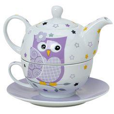 Tea for one Set 3-teilig Porzellan Teekanne mit Tasse und Untertasse in Geschenkbox (Lila): Amazon.de: Küche & Haushalt