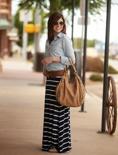 striped maxi, chambray, wide belt