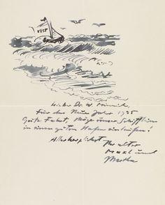 Max Pechstein – Brief mit Zeichnung (1935)