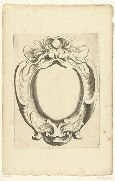 5425a54ba Johannes Lutma (II) | Verticale kwabcartouche met twee maskers, Johannes  Lutma (II