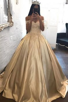 Romantic Lace Ball Gowns Prom Dress,Quinceanera Dresses, Long Prom Dresses Satin Off The Shoulder Appliqued Quinceanera Dresses Sweep Train Wedding Dresses Ball Gowns Prom, Ball Dresses, Evening Dresses, Satin Dresses, Pageant Gowns, 15 Dresses, Dresses Online, Formal Dresses, Fashion Dresses