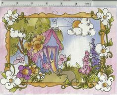 Loralie Very Pastel Fairy House quilt fabric block by tiaracatgrrl