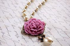 Gamma Phi Beta or Phi Mu - pink Carnation Necklace