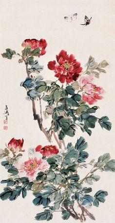 saved by oldsum Peony Painting, Silk Painting, Chinese Flowers, Chinese Painting Flowers, Japan Painting, Traditional Ink, Korean Art, China Art, Japan Art