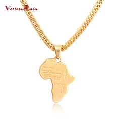 WesternRain 2016 New Fashion Gold Plated African Map Choker 730mm Long Chain Pendant Necklace For Men's Jewelry F837 (Color: Gold) Size of pendant:about 50mmX35mm Length: 730mm