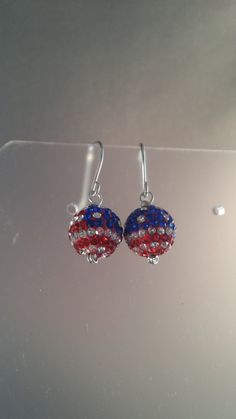 American Flag Sterling Wire Dangle Drop Earrings Patriotic Stars and Stripes July 4th Memorial Day Womens Girls Teens Jewelry lgbstyles by LGBStyles on Etsy