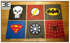 """SUPER HEROES"" signs, MARVEL fanart (spiderman, flash, iron man, punisher, batman & superman), customized Styrofoam artwork by E&E DESIGN GbR, 54292 Trier www.eundedesign.com www.facebook.com/eundedesign www.instagram.com/eundedesign"