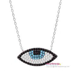 Göz Kolye Gümüş - Göz kolye modelleri arasında, elmas ışıltılı kübik zirkon ve nano turkuaz taşlar ile dikkat çeken göz alıcı bir nazar kolye. Nazar Boncuğu Resimleri