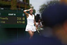 29.06 La joueuse italienne Flavia Pennetta très expressive au 1er tour de Wimbledon.Photo: Justin Tallis