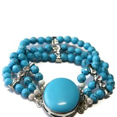On Sale Beaded turquoise bracelet. $23.80, via Etsy.