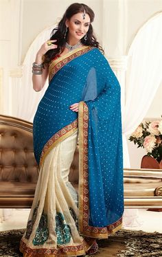 Picture of Exclusive off White and Teal Blue Silk Party Wear Saree