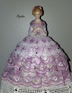 Porcelain Half Doll Pincushion Dresser Doll ~ Sophia ~  Signed & Dated