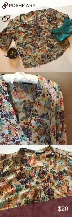 a.n.a sheer floral print short sleeve top Pretty floral sheer print with nice details made of 💯% polyester. Lace embellishment on shoulders, pleats down collar with v-neck and partial button up. Elastic at end of peasant sleeves. a.n.a Tops Blouses