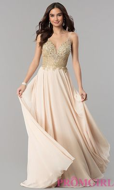 Long A-Line Prom Dress with Beaded Bodice