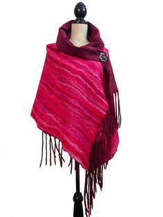VALENTINE'S DAY GIFT  Ruby Silk Shawl Red Silk by elenasfelting