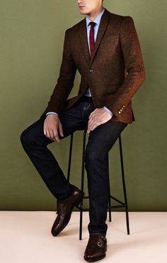 Veste Tweed / Jean / Double strap Monk  Brown, light blue, and red tie? Sure works in this picture