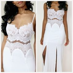 S,M,L - Sweetheart Beat Lace Dress **Not from Nasty Gal, just used for exposure. White lace, features a maxi silhouette. Double side slit, adjustable shoulder straps, thin mesh panel at center and side zip closure. Price is firm! No trades, thanks. ❤️ Nasty Gal Dresses Maxi